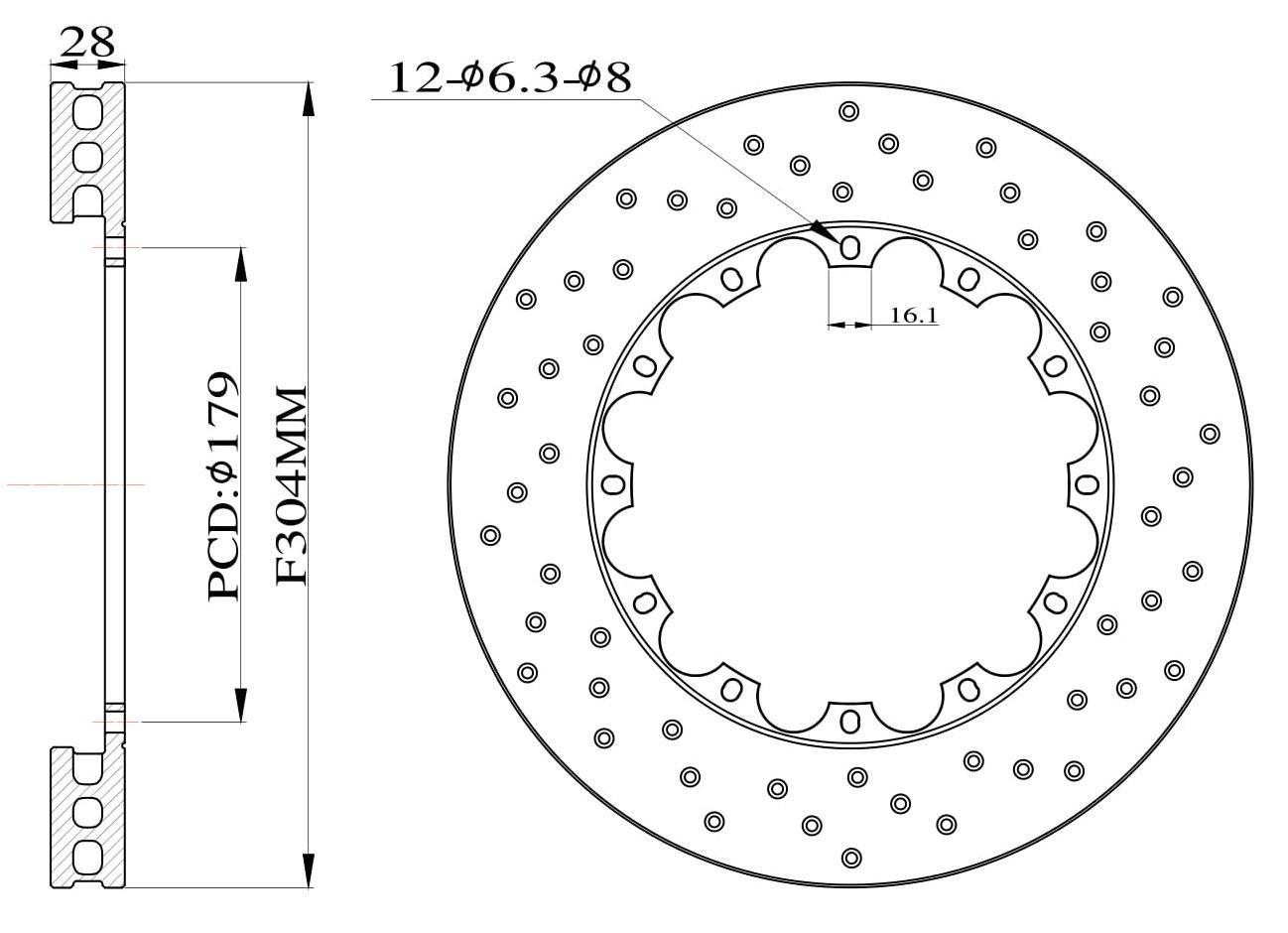 Tarcze hamulcowe nawiercane do zestawu Big Brake 304mm 2009+ - GRUBYGARAGE - Sklep Tuningowy